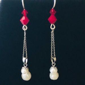 Swarovski, Pearl, & 925 Silver Snowman Earrings